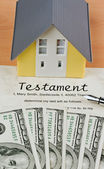 Dollar currency notes and english testament — Stock Photo