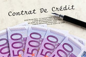 Euro bank notes and credit agreement (french) — Stock Photo