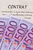 Euro banknotes and contract (french) — Stock Photo