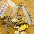 Jar with coins. inscription retirement / pension — Stock Photo