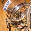 Jar with coins. inscription retirement / pension — Stockfoto