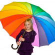 Child with a colorful umbrella — Stock Photo