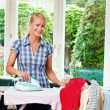 Housewife ironing — Stock Photo