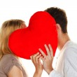 Loving couple kissing in — Stock Photo