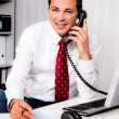 Businessman in office with telephone - Stock Photo
