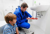 Sink plumbing repairs — Stock Photo