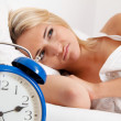 Clock with sleep at night. — Stock Photo