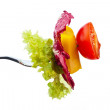 Salad on a fork — Stock Photo