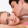 Couple in bed during sex and affection. love and e — Stock Photo