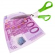 Euro banknotes and scissors — Stock Photo #8140725