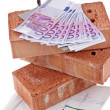 Stock Photo: Construction, financing, building society. brick and