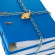 File folders locked with chain — Stock Photo