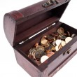 Stock Photo: Treasure chest with coins