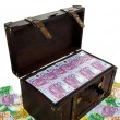 Royalty-Free Stock Photo: Chest with euro banknotes