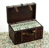 Dollars in treasure chest — Stock Photo