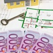 Euro notes and plan of a house — Stock Photo