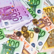 Stock Photo: Many euro banknotes money