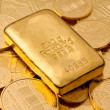 Stock Photo: Investment in real gold thgold bullion
