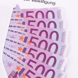 Stock Photo: Euro notes and application