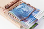 Swiss franc in mousetrap — Stock Photo