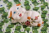Piggy bank and euro bills — Stock Photo