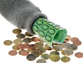 Piggy-bank with banknotes and € euros — Stock Photo