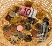 Donation basket for collection. monetary donation to € — Stock Photo