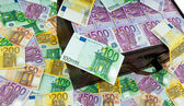 Chest with euro banknotes. financial crisis, crisis, schools — Stock Photo