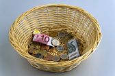 Donation basket for collection. monetary donation to € — Stok fotoğraf