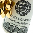 Dollar bills as a monetary gift - Stock Photo