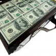 Chest with dollar bills. - Stock Photo