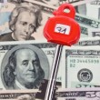 Dollar currency notes and keys safe - Stockfoto