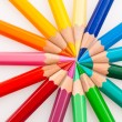Stock Photo: Colored pencils on a white background