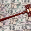 Stock Photo: Dollar currency notes with gavel