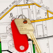 Stock Photo: Apartment key and blueprint