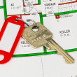 Apartment key and blueprint — Stock Photo