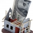 Carcass home. funding with dollar — Stock Photo