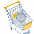 Stopwatch in a shopping cart — Stock Photo