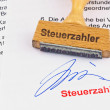 Foto Stock: Wooden stamp on document: taxpayer