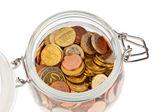 Vetro con monete in euro — Foto Stock