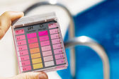 Chlorine and ph testing in pool water — Stock Photo