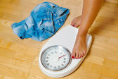 Feet on scales — Stock Photo