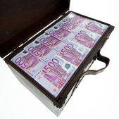 Chest with euro banknotes. financial crisis, — Stock Photo