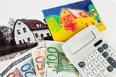 Energy savings. house with a thermal imaging camera — Stock Photo