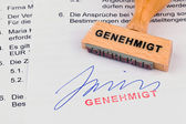 Wooden stamp on the document: approved — Stock Photo