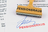 Wooden stamp on the document: pension robbery — Stock Photo