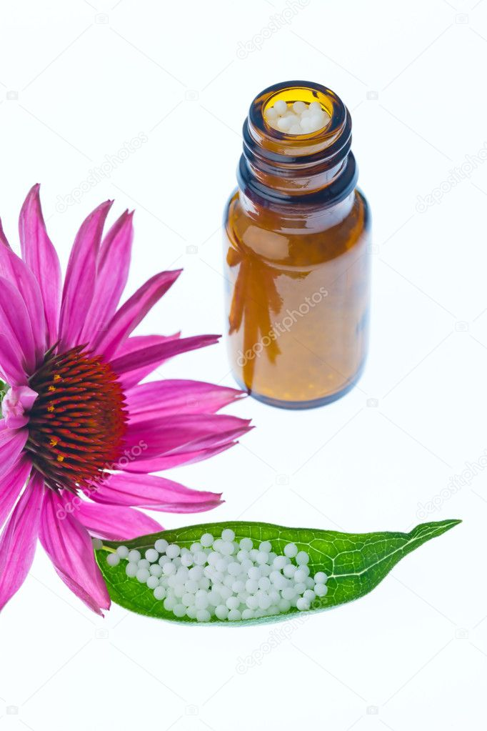 Globules in the treatment of diseases in the gentle, alternative medicine. tablets and medicines. — Stock Photo #8166504