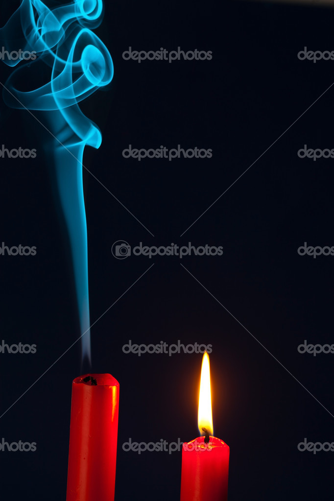 The flame of a candle was blown out. symbol of death, dying and past — Stock Photo #8166727