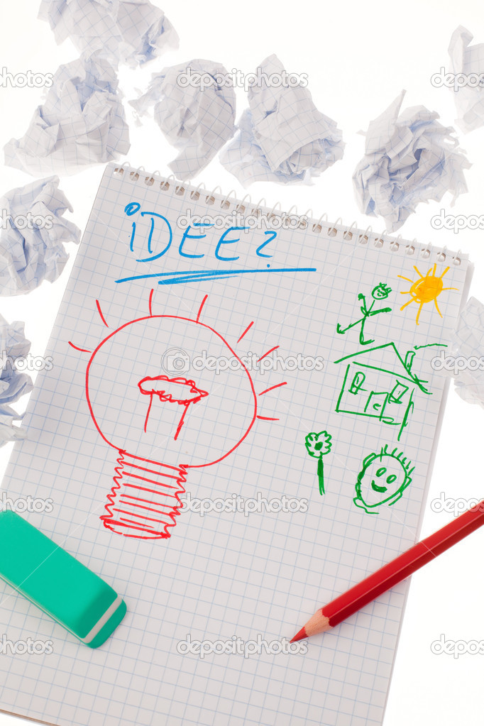 Bulb on drawing as a symbol of new ideas.  Stock Photo #8166912