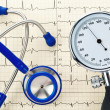 Royalty-Free Stock Photo: Blood pressure monitoring, ecg and stethoscope